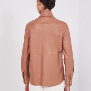 Peserico Lammleder Bluse braun hinten