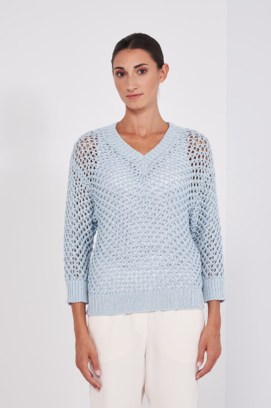 Peserico Pullover hellblau Netz Optik