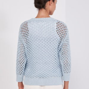Peserico Pullover hellblau Netz Optik hinten