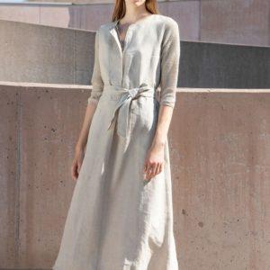 TONET Kleid Leinen weiß