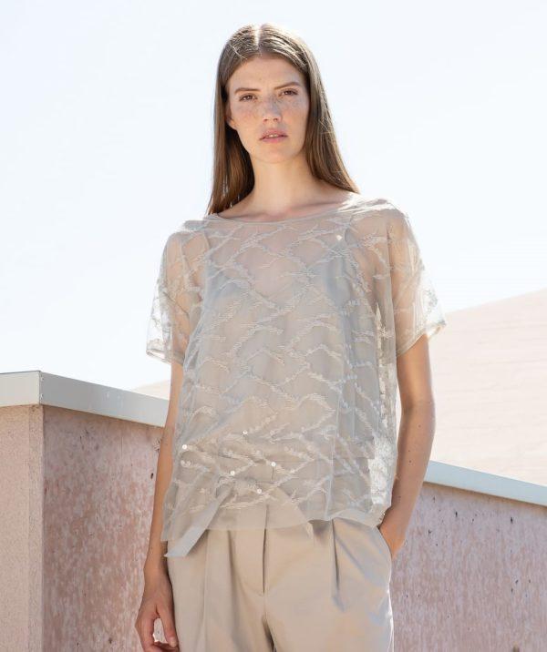 TONET Bluse Transparent beige