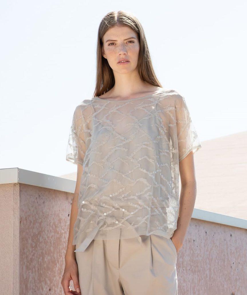 TONET Bluse Transparent beige Alt