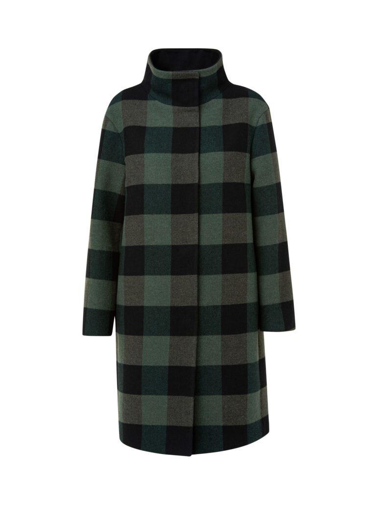 Sportiver grün-schwarz karierter Mantel in leichter Wollmix Qualität. Mit hochwertigen größeren Druckknöpfen.