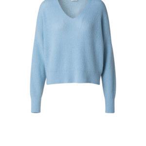 Hellblauer kuscheliger V-Ausschnitt Pullover aus feinem Kaschmir-Wolle Mix. Überschnittene Schulter Partie und lässiger Schnitt. Passt perfekt in jede Garderobe.