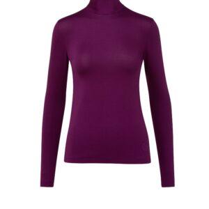 Bordeaux rotes langärmeliges anliegendes Shirt mit Stehkragen. Hinten mit einem Zipp. Ein perfekter Unterzieher in bewährter perfekter Akris Punto Modal-Stretch Qualität.